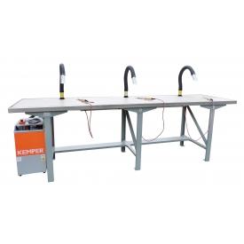 Soldeertafel, 3-personen, incl. afzuigunit met filter, hittebestendig werkblad en soldeerbouten 24V